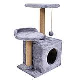 Домик-когтеточка с полкой Бусинка 43х33х75 см (дряпка) для кошки Серый, фото 4