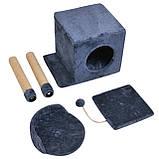 Будиночок-когтеточка з полицею Бусинка 43х33х75 см (дряпка) для кішки Синій, фото 2