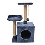 Будиночок-когтеточка з полицею Бусинка 43х33х75 см (дряпка) для кішки Синій, фото 3