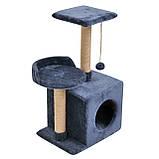 Будиночок-когтеточка з полицею Бусинка 43х33х75 см (дряпка) для кішки Синій, фото 4