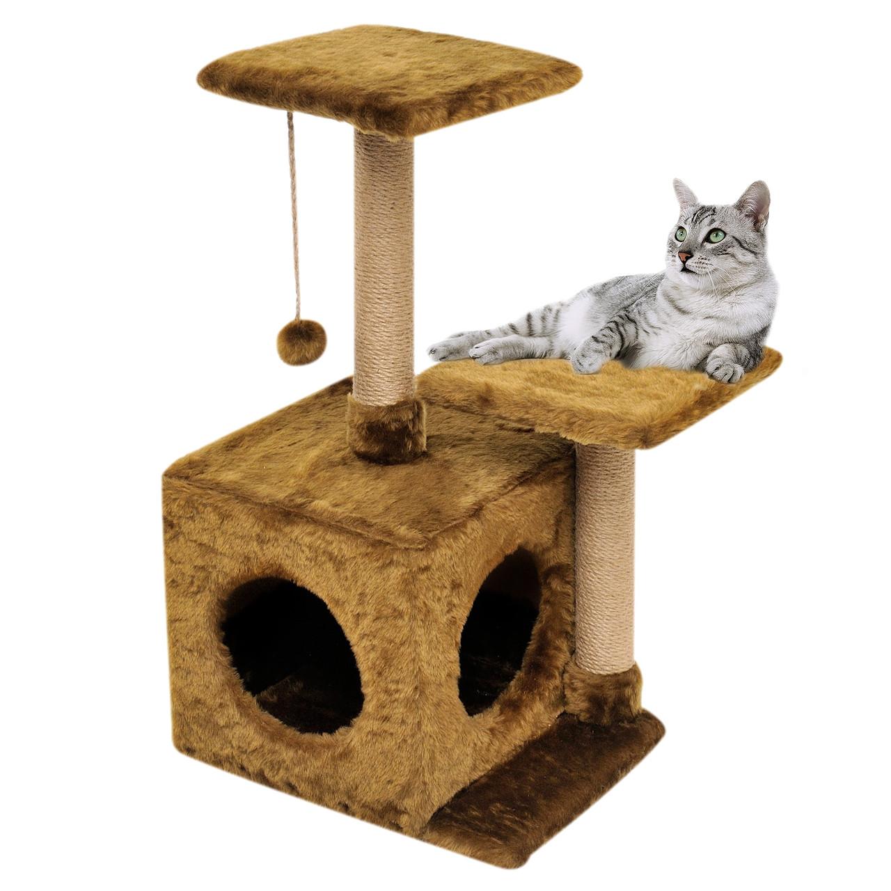 Будиночок-когтеточка з полицею Маруся 43х33х75 см (дряпка) для кішки Коричневий