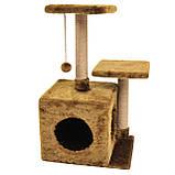 Будиночок-когтеточка з полицею Маруся 43х33х75 см (дряпка) для кішки Коричневий, фото 2