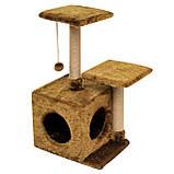 Будиночок-когтеточка з полицею Маруся 43х33х75 см (дряпка) для кішки Коричневий, фото 3