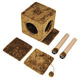 Будиночок-когтеточка з полицею Маруся 43х33х75 см (дряпка) для кішки Коричневий, фото 4