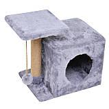 Домик-когтеточка с полкой Милана 43х33х45 см (дряпка) для кошки Серый, фото 2