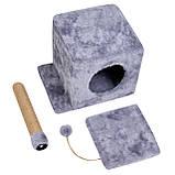 Домик-когтеточка с полкой Милана 43х33х45 см (дряпка) для кошки Серый, фото 3