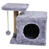 Домик-когтеточка с полкой Милана 43х33х45 см (дряпка) для кошки Серый, фото 4