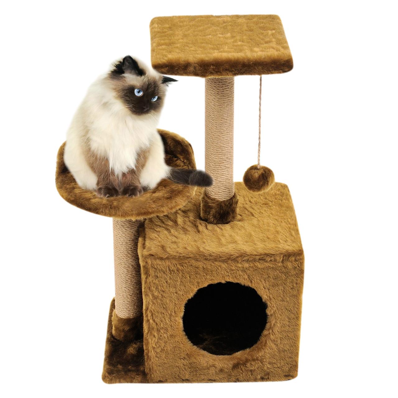 Будиночок-когтеточка з полицею Бусинка 43х33х75 см (дряпка) для кішки Коричневий