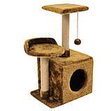 Будиночок-когтеточка з полицею Бусинка 43х33х75 см (дряпка) для кішки Коричневий, фото 3