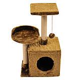 Будиночок-когтеточка з полицею Бусинка 43х33х75 см (дряпка) для кішки Коричневий, фото 4