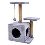 Будиночок-когтеточка з полицею Маруся 43х33х75 см (дряпка) для кішки Сірий, фото 2