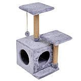 Будиночок-когтеточка з полицею Маруся 43х33х75 см (дряпка) для кішки Сірий, фото 3