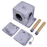 Будиночок-когтеточка з полицею Маруся 43х33х75 см (дряпка) для кішки Сірий, фото 4