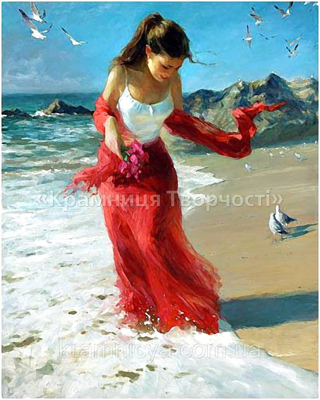 """Картина по номерам """"Прогулка по пляжу"""", художник В.Волегов, 40х50см. (КН1059)"""
