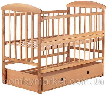 Дитяче ліжечко «Наталка» - з відкидною боковушкой, маятником і ящиком вільха світла