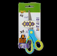 Ножницы детские 152 мм с гибким резиновым кольцом и резиновыми вставками синие KIDS Line