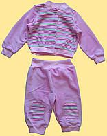 Розовый велюровый костюм для новорожденной девочки, 3-6 мес