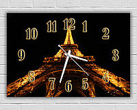 Креативные черные часы картина на стену в зал Эйфелева башня 30х45 см