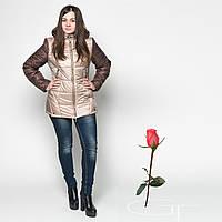 Комбинированная Зимняя  Куртка L 19581 Беж-Коричневый
