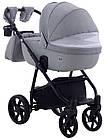 Коляска дитяча 2в1 універсальна з сумкою і підсклянником Adamex Hybryd Plus BR204 світло-сірий - сіра шкіра, фото 4