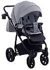 Коляска дитяча 2в1 універсальна з сумкою і підсклянником Adamex Hybryd Plus BR204 світло-сірий - сіра шкіра, фото 5