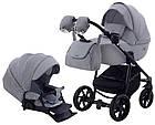 Коляска дитяча 2в1 універсальна з сумкою і підсклянником Adamex Hybryd Plus BR204 світло-сірий - сіра шкіра, фото 10