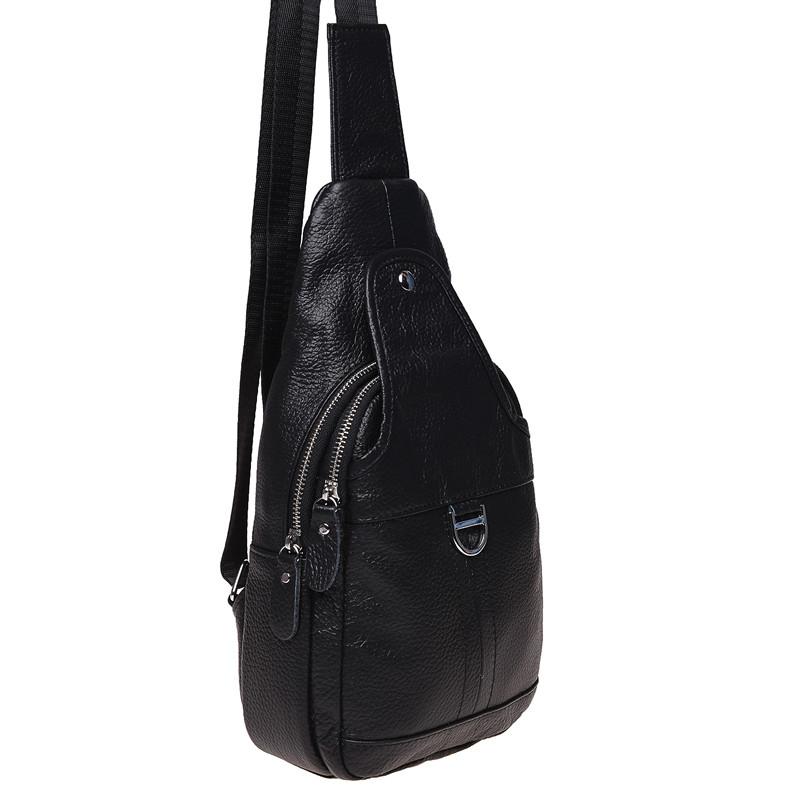 Чоловічий шкіряний рюкзак через плече Borsa Leather K1202-black
