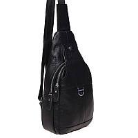 Чоловічий шкіряний рюкзак через плече Borsa Leather K1202-black, фото 1