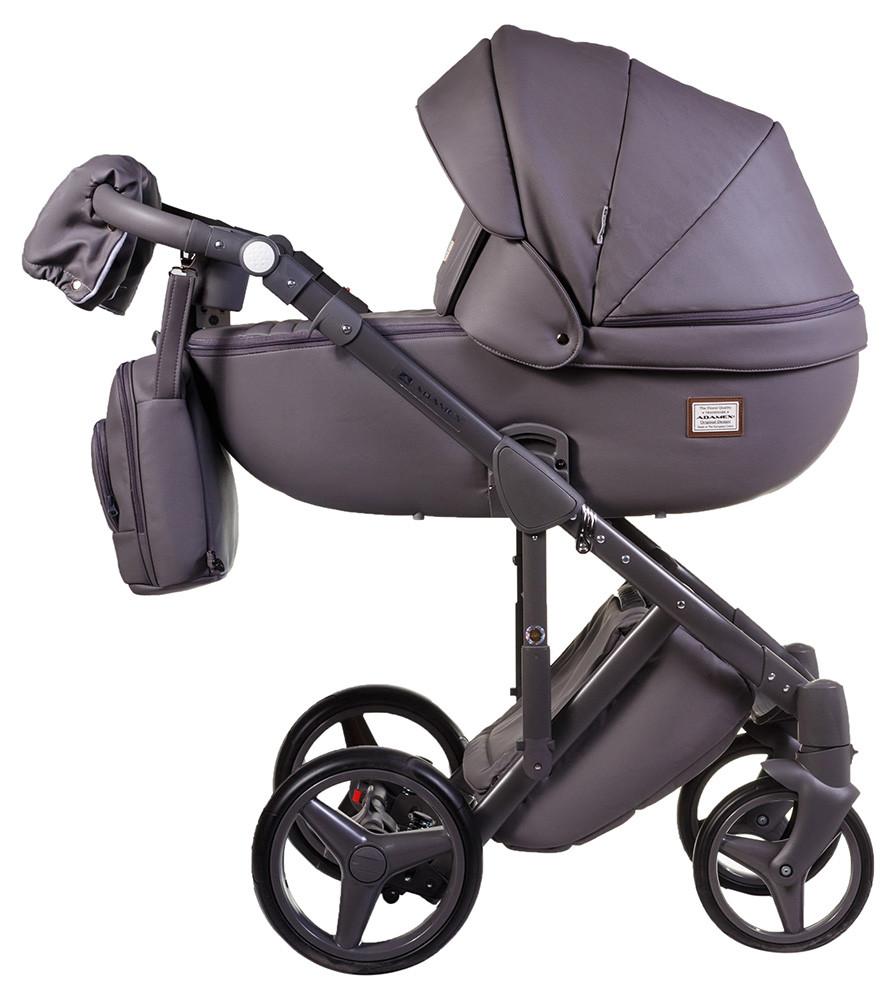 Коляска детская 2в1 универсальная с сумкой и амортизаторами Adamex Luciano кожа 100% Q102 графит