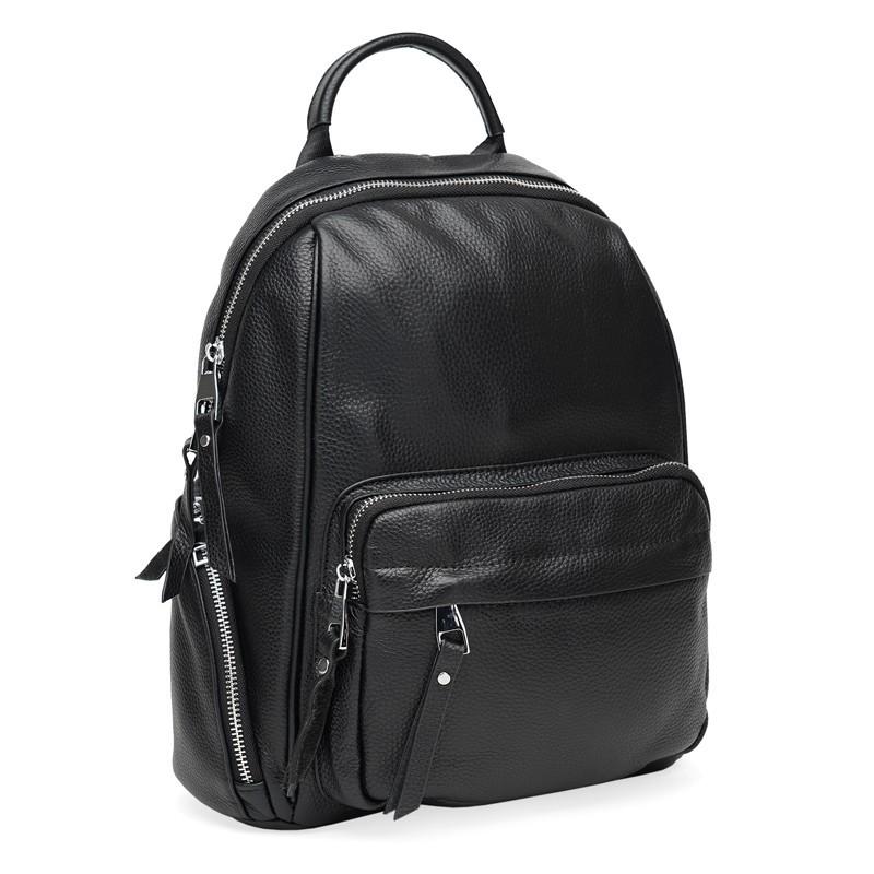 Женский кожаный рюкзак Borsa Leather K12045-black