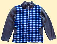 Куртка флисовая детская, в сине-серую клетку, 116 см