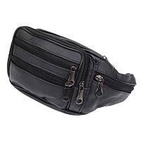 Мужская кожаная сумка на пояс Borsa Leather 1t166m-black