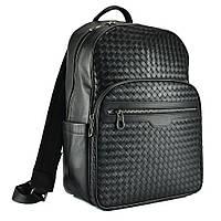 Рюкзак черный мужской с плетением Tiding Bag B3-8601A
