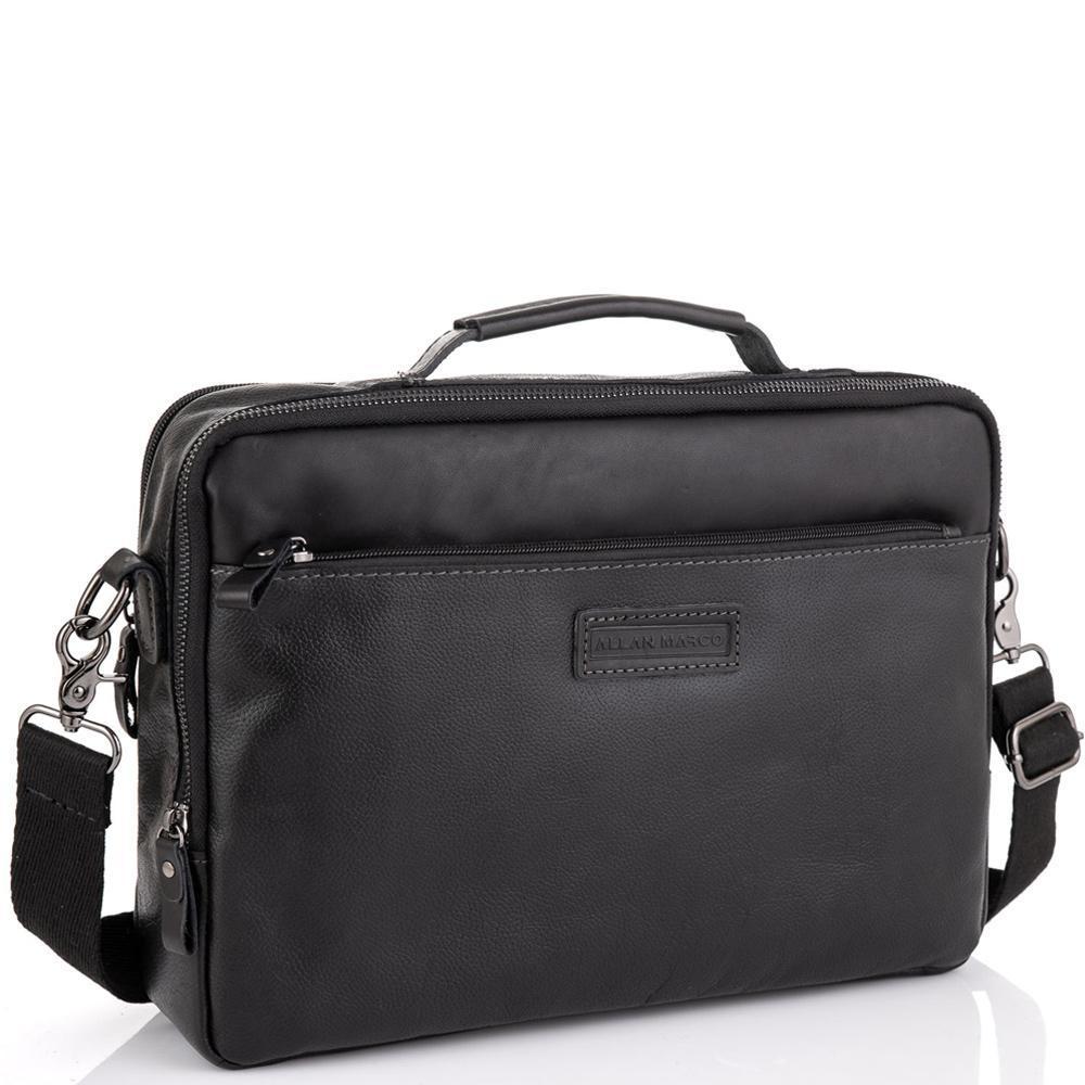 Мужская кожаная черная сумка для ноутбука Allan Marco RR-4104A