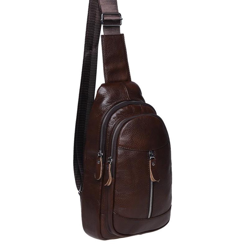 Чоловічий шкіряний рюкзак на плече Borsa Leather K1318-brown