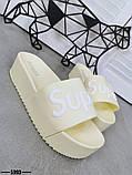 Женские пляжные шлепки Super, на платформе,танкетка 5 см черные голубые желтые розовые оранжевые, фото 3