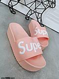 Женские пляжные шлепки Super, на платформе,танкетка 5 см черные голубые желтые розовые оранжевые, фото 2