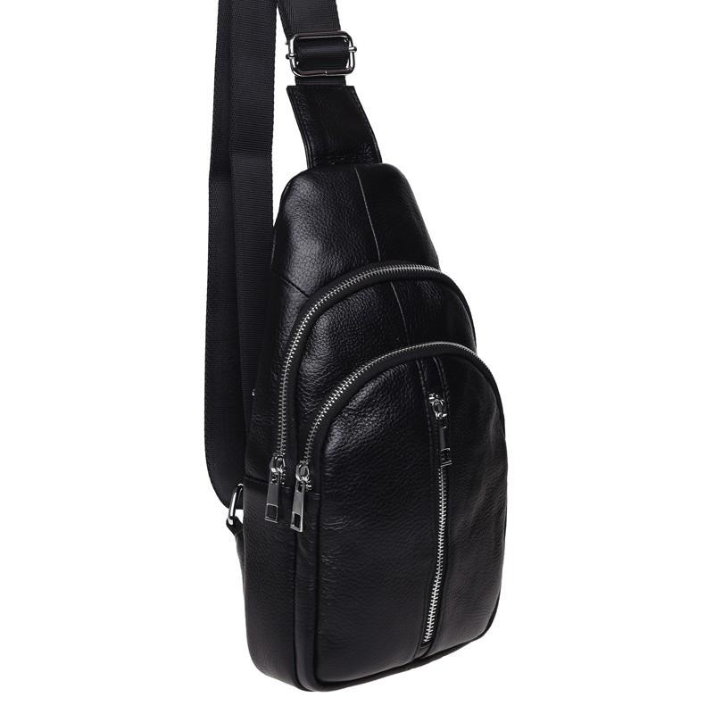 Мужской кожаный рюкзак через плечо Keizer K1155-black
