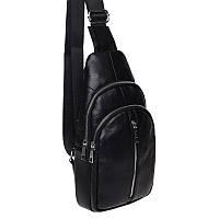 Мужской кожаный рюкзак через плечо Keizer K1155-black, фото 1