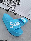 Женские пляжные шлепки Super, на платформе,танкетка 5 см черные голубые желтые розовые оранжевые, фото 4