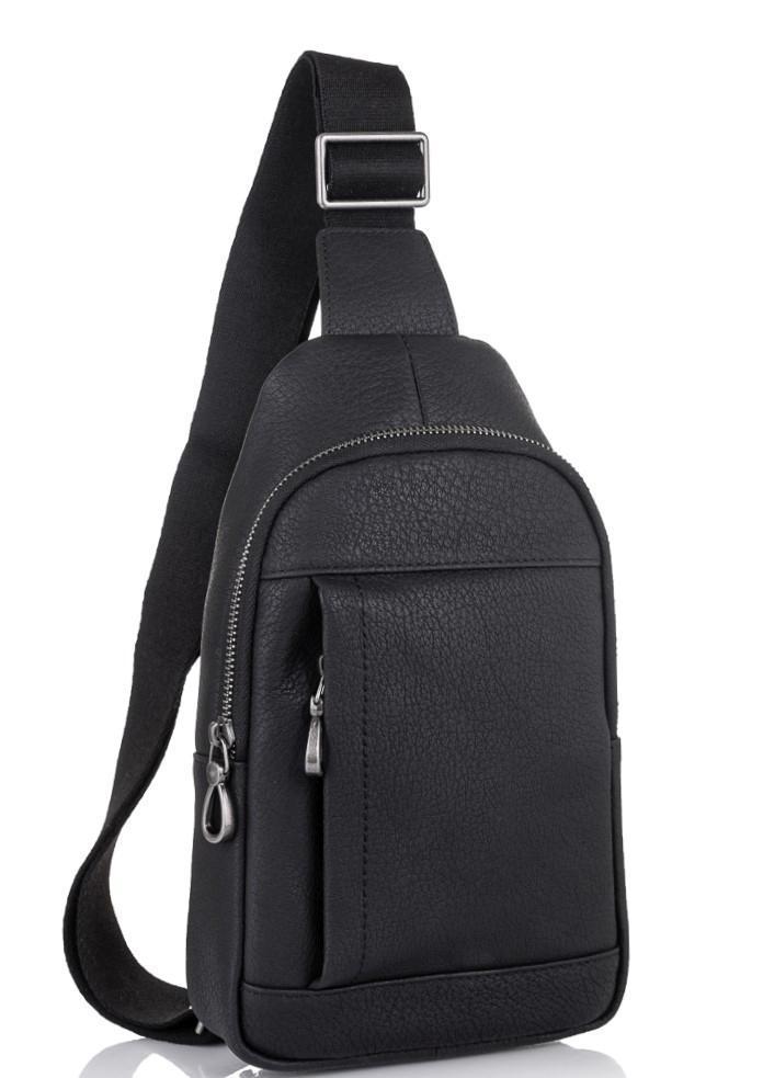 Чоловіча шкіряна сумка-слінг чорна Tiding Bag SM8-827A