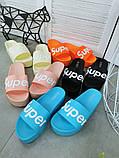 Женские пляжные шлепки Super, на платформе,танкетка 5 см черные голубые желтые розовые оранжевые, фото 6
