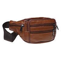 Мужская поясная сумка кожаная Keizer K1166-brown