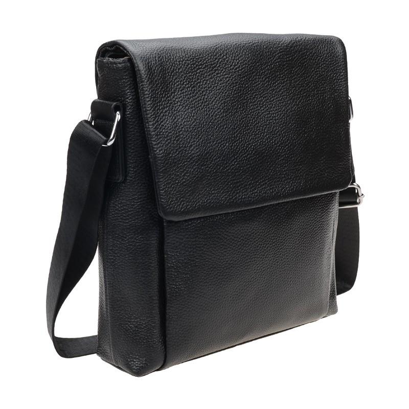 Мужской кожаный мессенджер Borsa Leather 1t9168-black