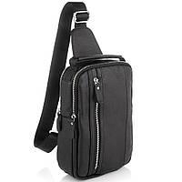 Мужской кожаный слинг на одно плечо черный Tiding Bag A25F-693A