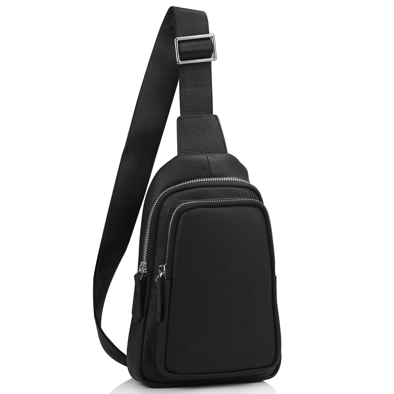 Мужской черный кожаный слинг на плечо Tiding Bag SM8-356A
