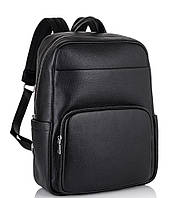 Мужской кожаный рюкзак для ноутбука черный Tiding Bag NM18-003A