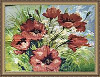 Картина гобеленовая Маки 500x700мм. (В багетной рамке) №G335