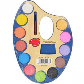 """Акварель суха 12 кольорів """"Палітра"""" пластик 22*15см 8026"""