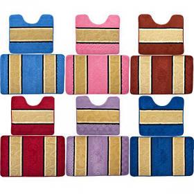 """Набір килимків для ванни і туалету """"смужка"""" 50*78см, 50*45см X1-134"""